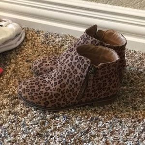Leopard short ankle boots